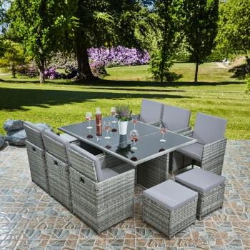 Raygar Deluxe 11 Piece 10 Seater Rattan, Grey Rattan Garden Furniture Cube Sets